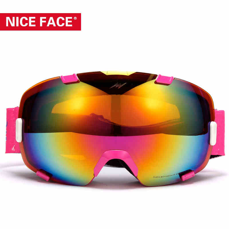 2016 NiceFace Two Lens Skiing Goggles Men Women Snowboard Dual Layer Glasses All-Weather UV Ski Googles Mens Snow Glasses NF0101