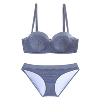 Top Quality Half Cup Thickening Gathered Push Up Lace Embroidery Women Bra Sets High Luxury Diamond