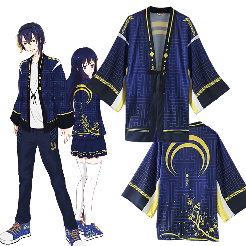 Anime Game Touken Ranbu Mikazuki Munechika Cosplay Costumes Unisex Kimono Yukata Outwear Blue Coat Daily Haori Hot Sale