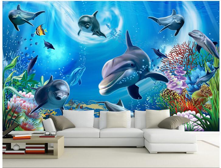 Us 1477 47 Off3d Wallpaper Custom Photo Non Woven Mural Home Decoration 3 D Underwater World Aquarium Painting 3d Wall Room Murals Wallpaper In