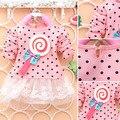 Doce crianças infantis do bebê meninas Dots Bow Princess Dress manga comprida Mini vestido L07