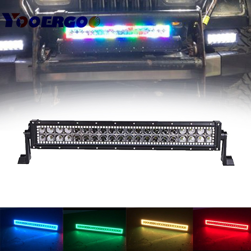 22 inch 120W LED Light Bar Straight / HALO Ring RGB color by Remote for Fog Driving Boat Car Truck SUV ATV Off Road rgb led rock light kits bluetooth remote control lights for off road truck car atv suv vehicle boat with timing