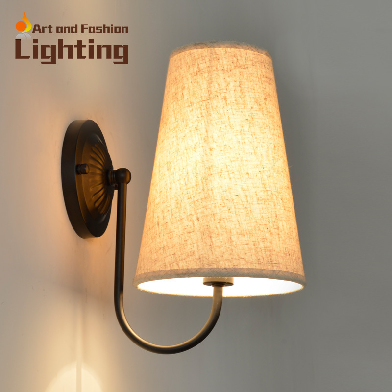ФОТО Modern linen wall lamp Carved wrought iron shape Living room/Bedside/hallway/corridor lights