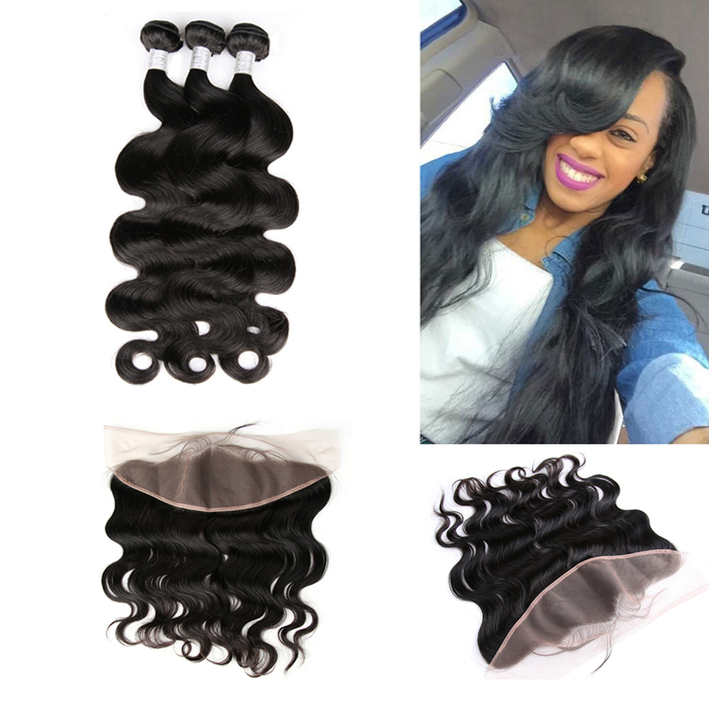 Hot Beauty Hair Pre Plucked Frontal with Bundles 3pcs Peruvian Body Wave with one pre plucked lace frontal 4pcs/Lot