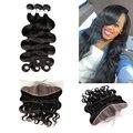 Hot beauty hair pré arrancadas frontal com feixes 3 pcs onda do corpo peruano com um pré arrancadas lace frontal 4 pçs/lote