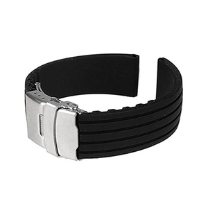 Black Silicone Watch Strap for