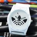 Nova Cor Da Moda Folha de Grama de Aço Inoxidável Relógio de Quartzo Para Mulheres Homens Unisex do Silicone Esportes Pulso Casual e Caixa