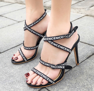 Jookrrix 2018 Rome Style New Summer Fashion Brand Girl Sandals High Heel White Shoes Women with Letter Sexy Lady Peep Toe Black 2018 summer new arrived strap design wedges women sandals peep toe comfort mid heel sexy lady sandal fashion student casual shoe