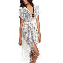 Hot Sell Bikini Cover Up Lace Women Long Sleeve Cardigan Summer Beach Cover Up Cape Tops