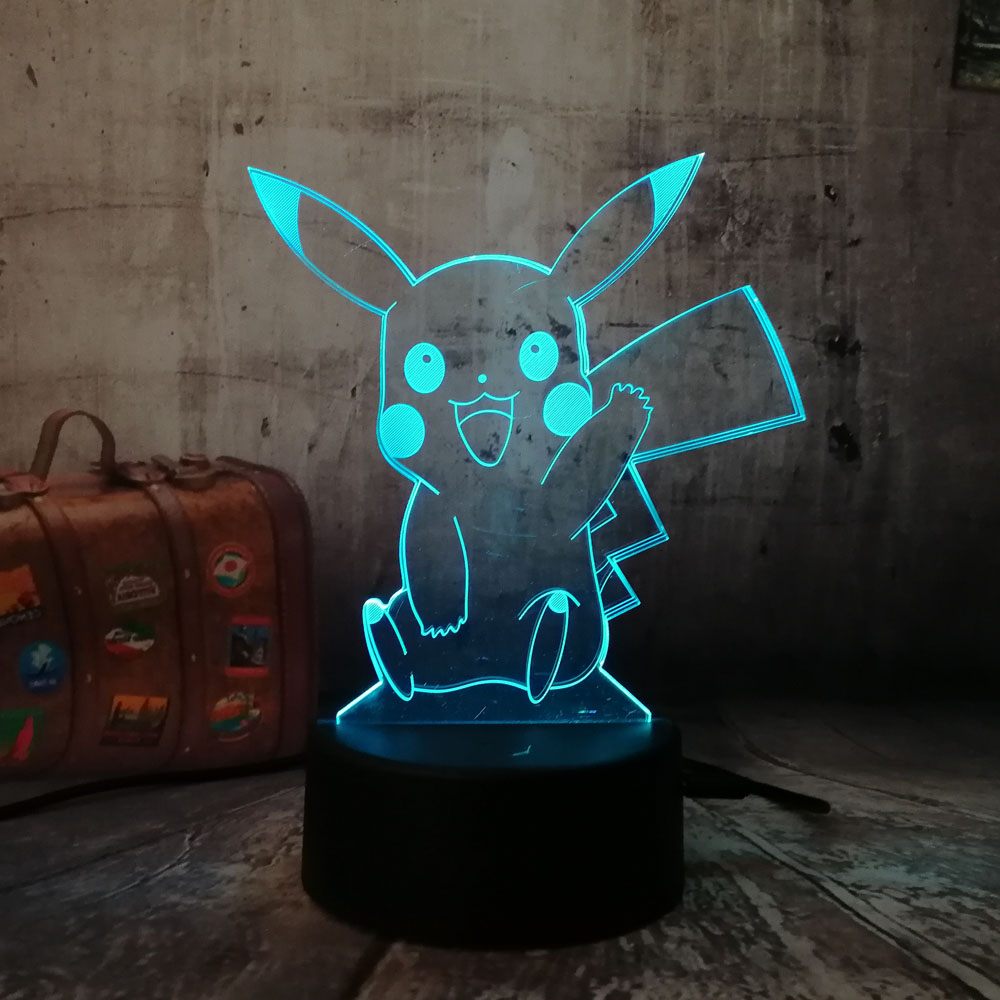 Novelty Pokemon Cute Pikachu Go Action Figure 3D Atmosphere Illusion Night Light Bedroom Kids Gift Creative 3D Lamp Drop Shippng