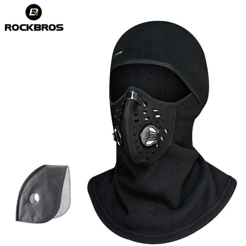 ROCKBROS Thermal Skiing Caps Bib Windproof Neck Scarf Warm Up Face Mask Snowboard Snow Wintrt Motorcycle Cycing Shield Men Cap