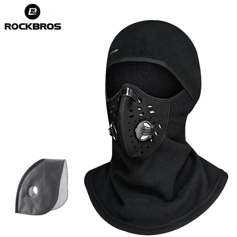 ROCKBROS Thermal Skiing Caps Bib Windproof Neck Scarf Warm Up Face Mask Snowboard Snow Wintrt Motorcycle Cycing Shield Men Cap