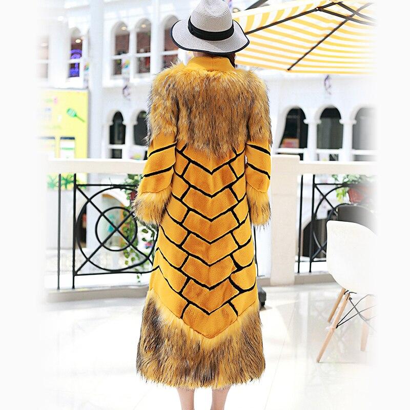 Nerazzurri Women extralanger Kunstpelzmantel mit gelben und schwarzen - Damenbekleidung - Foto 2