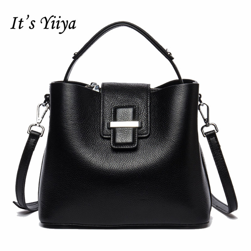 It's YiiYa Sales 4 Colors Women Genuine Leather HandBag Fashion Casual Bucket Hasp High Quality Girls Messenger Bags SS866 new arrival casual women shoulder bags genuine leather female big tote bags luxury ladies handbag large capacity messenger bag