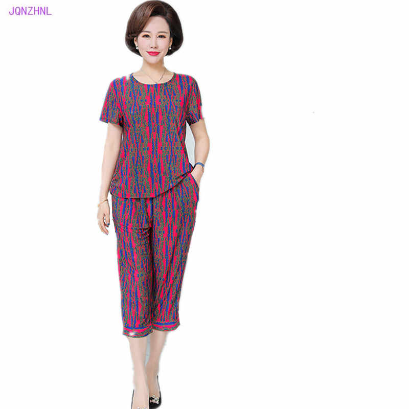 New Middle-aged Women Casual Tracksuit Plus Size 5XL Milk silk Printing Short Sleeved+7 points Pants Sportswear 2pcs Sets G1058