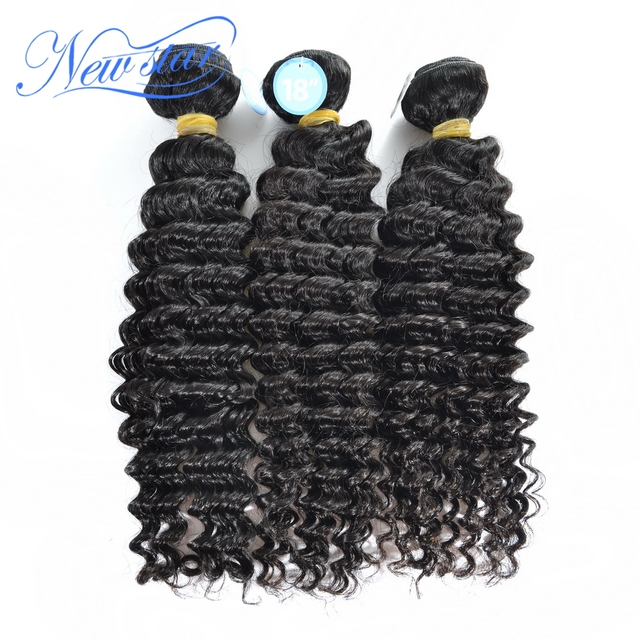 new star hair 3pcs/lot mix lengths Malaysia virgin human Hair extensions Deep curl weaves  natural color wholesale price