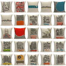 High Quality Cushion Cover Creative Building Car Linen Cotton Printed Pillow Case Sofa Bed Chair Home Decor Throw Pillow Cover
