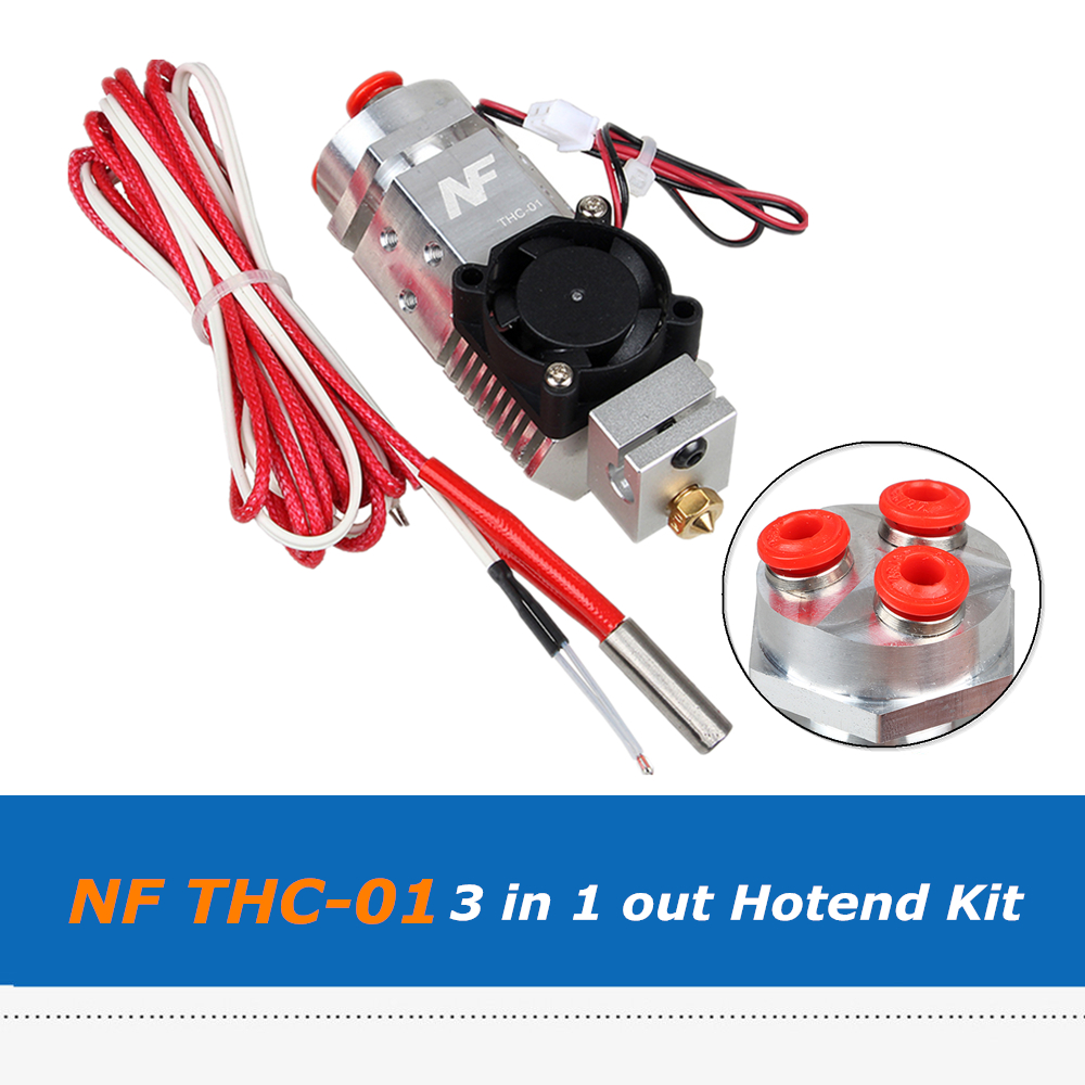 лучшая цена 3D Printer Parts NF THC-01 Hotend Kit, 3 in 1 out Multi-color Three Colors Switching Remote Extruder Kit