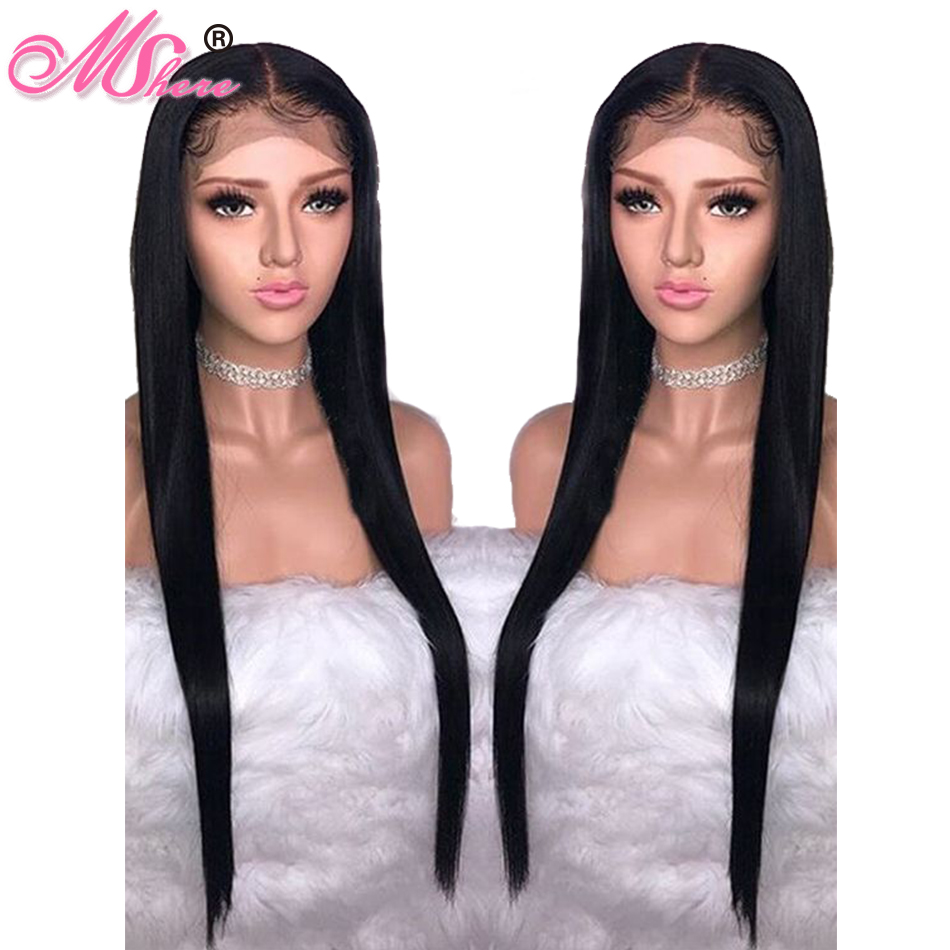 Mshere Peruvian 360 Lace Frontal Straight Wigs Lace Front Human Hair Wigs For Black Women 150% Lace Front Remy Hair Wigs Factories And Mines Lace Wigs