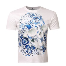 Newest fashion mens skull t shirt hip hop 3d kanye west print t-shirt for men brand palace tee shirt homme camisetas hombre top