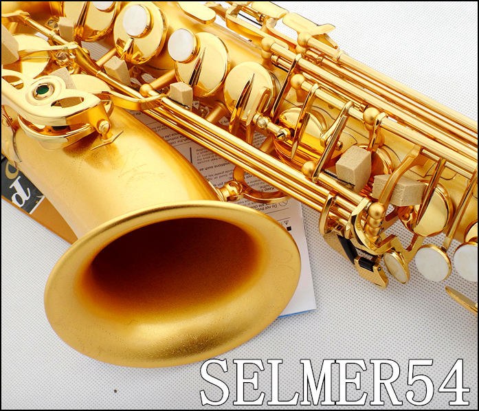 Authentic instruments France Selmer /  54 E-flat alto saxophone musical instruments gilded  professional shipping alto saxophone selmer 54 brass silver gold key e flat musical instruments saxophone with cleaning brush cloth gloves cork strap