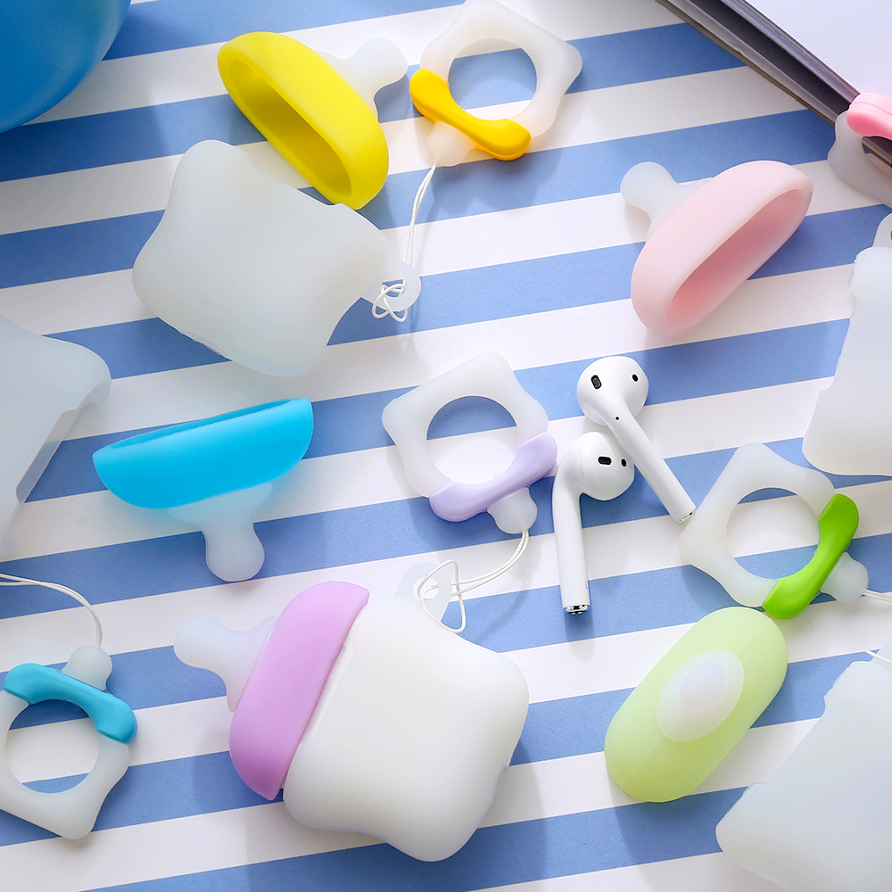 Image 2 - Applicable to Airpods1 bottle silicone case AirPods2 skin protection cover Bluetooth wireless headset box pacifier-in Earphone Accessories from Consumer Electronics