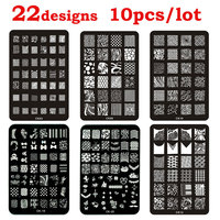 Hot 10pcs Nail Art Template Lace Flower French Design DIY Stencil Stamp Plates Polish Stamping Nail Tools Wholesale