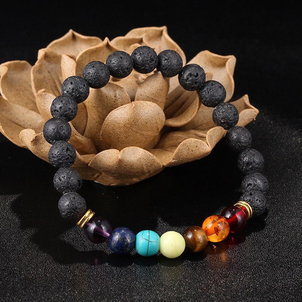 Крутой мужской женский вулканическая порода растягивающиеся браслеты с бусинками натуральный энергетический Браслет Модные ювелирные изделия лучший подарок хит