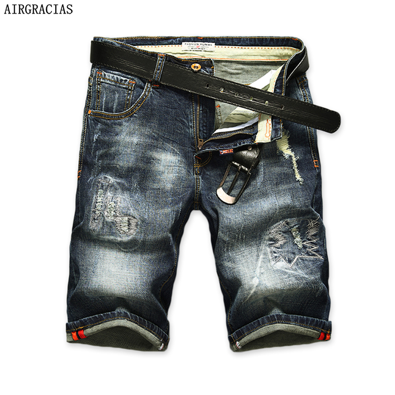 AIRGRACIAS Shorts Men Ripped Short Jeans Straight Retro Shorts Jean Bermuda Male Denim Brand Clothing Plus Size 28 40