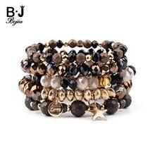 BOJIU 5 Pcs/Set Hot Trendy Elastic Crystal Star Charm Bracelets For Women Golden Copper Hematite Bracelet Femme BCSET211