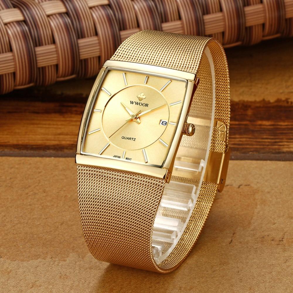 2018 Golden Quartz Watch Men Watches relogio masculino Top Luxury Gold Bracelet Wrist Watches Steel Male Clock whatches Square 2