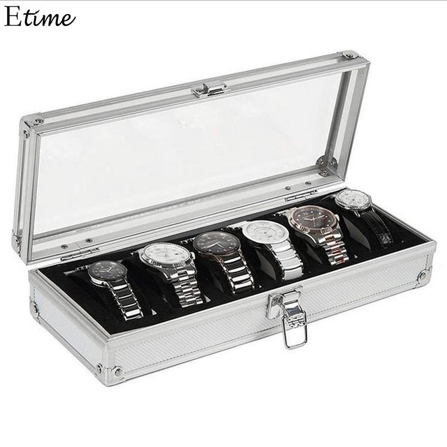 FANALA 6 Grids Watch Box PU Leather/Aluminium Jewelry Storage Case Watch Display