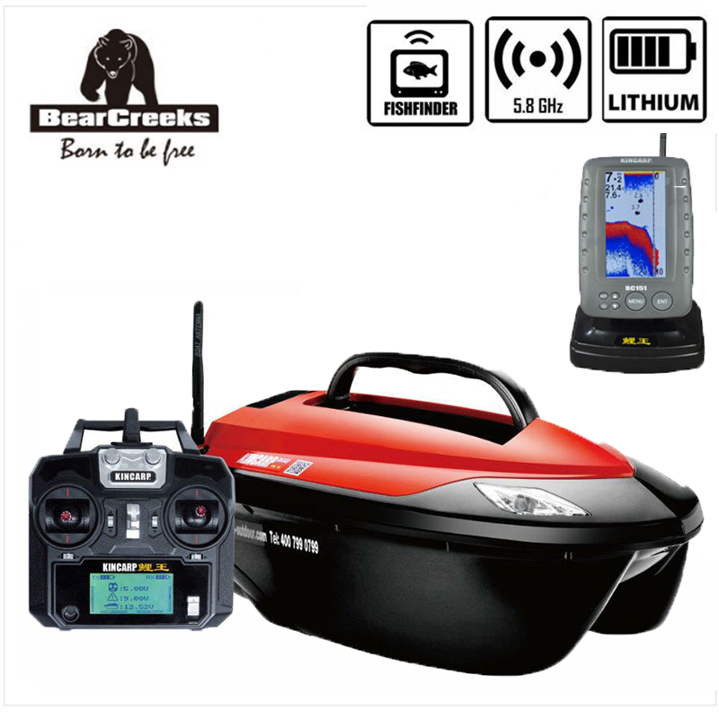 BearCreeks KINCARP V6 Carp Fishing Bait Boat baitboat with lithium battery and BC151 color sonal fishfinder Explosion Hook цена