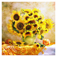 5D DIY Diamond Painting Sunflower Vase Pattern Round Diamond Embroidery Full Drill Mosaic Stickers Cross Stitch цена