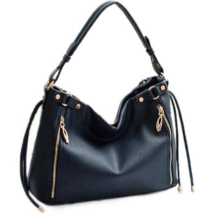 LUCKY ORANGE Handbag Drawstring Office Leather Zippers Large Black ...