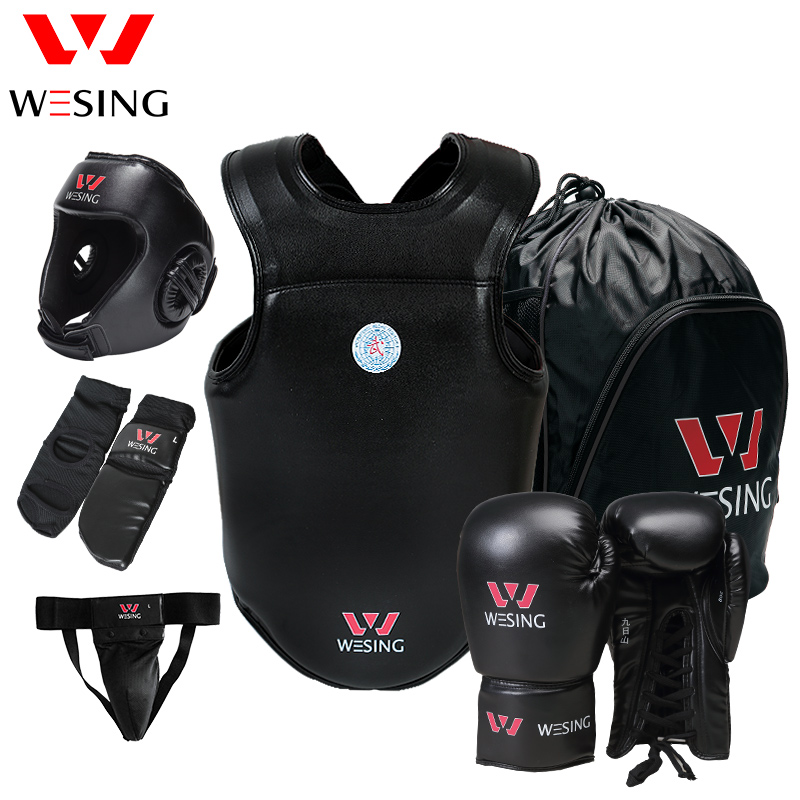 Wesing Sanda Martial Arts 6 Pcs Protective Gears Sets Head Guard Boxing Gloves Groin Chest Guard Instep Pads Men Women Large 2XL wesing aiba approved boxing gloves 12oz competition mma training muay thai kickboxing sanda boxer gloves red blue