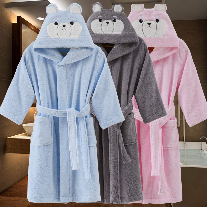 Kids Bathrobes Winter Children's Bathrobe Solid Color Cotton Bathgrowns For Big Boys Girls Soft Belt Pyjamas Christmas Gift