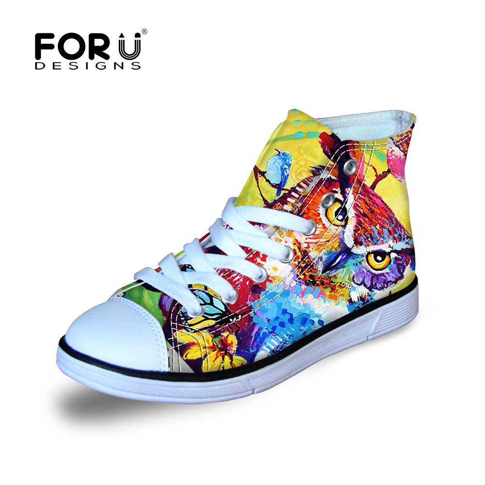 Printed Shoes for Kids High Top Canvas for Kids Floral Lace up Sneakers