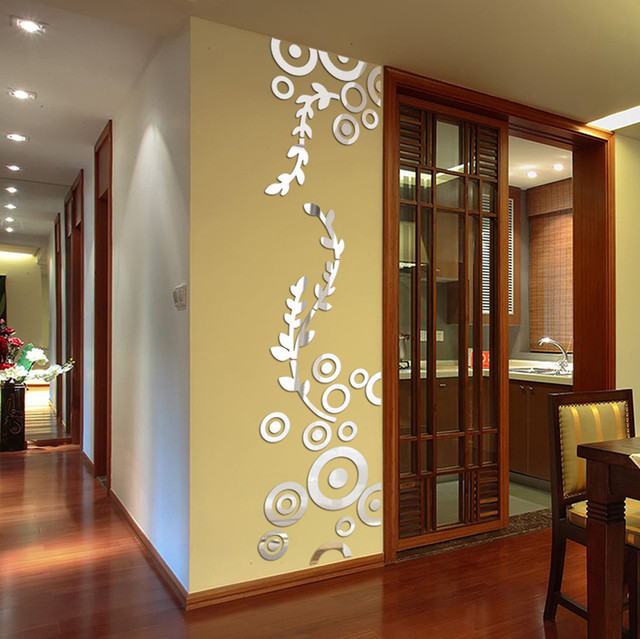 3D Wall Sticker Decoration Creative Circle Ring Acrylic Mirror Wall ...