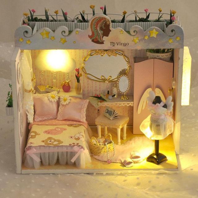 Кукольный дом мебель миниатюрный кукольный домик миниатюре diy кукольные домики деревянные ручной работы, взрослые игрушки для детей подарок на день рождения TD2