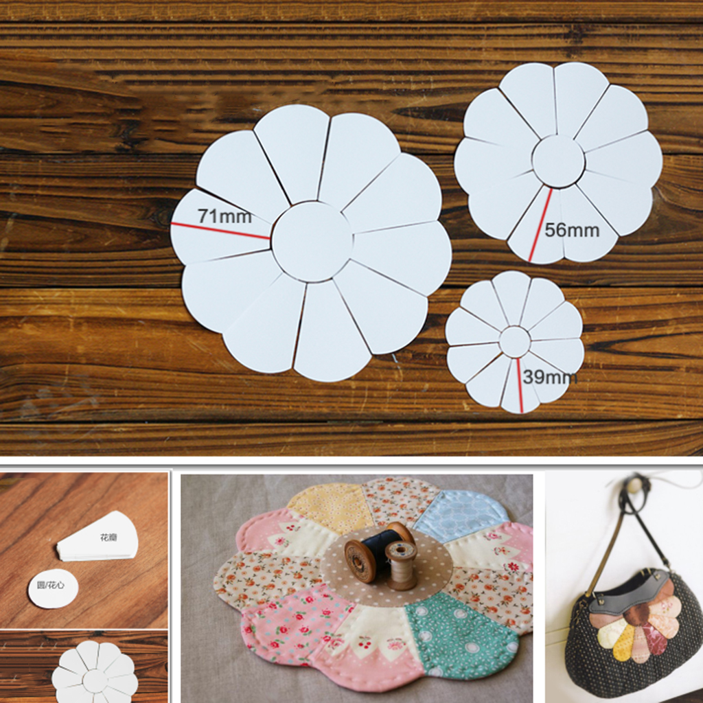 132Pcs Flower Shape Template Blank White Paper Quilting Templates For Patchwork Sewing Craft DIY Four Sizes 71/56/39mm