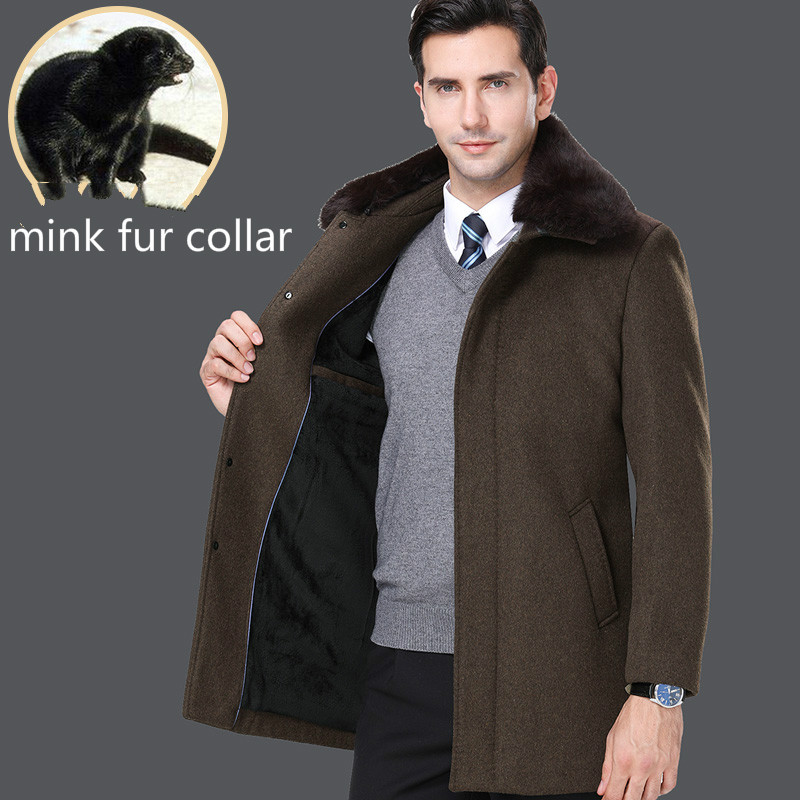 Herbst Winter Jacke Männer Kleidung Mantel Nerz Pelz Kragen Wolle Mantel Business Casual Männer Tops Plus Größe Chaqueta Hombre Zt1799 Feines Handwerk