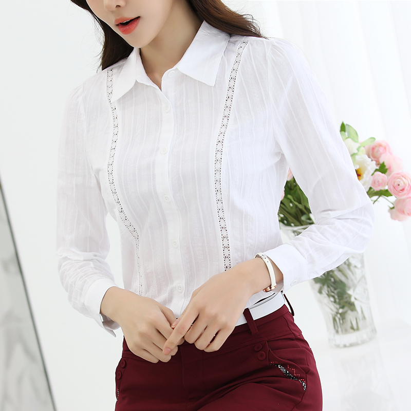 2017 New fashion Women Shirts Lady White Shirts Formal Work Blouse All Match Slim Body Fit Lady Blusas 892G 30