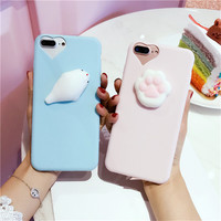 Lovely 3D silicon Cartoon Cute Cat Candy soft TPU Squishy Phone case for iPhone 6 cases 6S 7 Plus 5 5S SE For iPhone 7 case capa