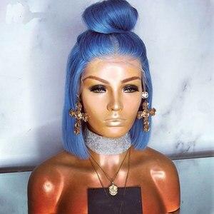 Image 2 - 爆弾ライトスカイブルー合成レースフロントショートボブウィッグかつら耐熱性繊維の毛中間仕切女性