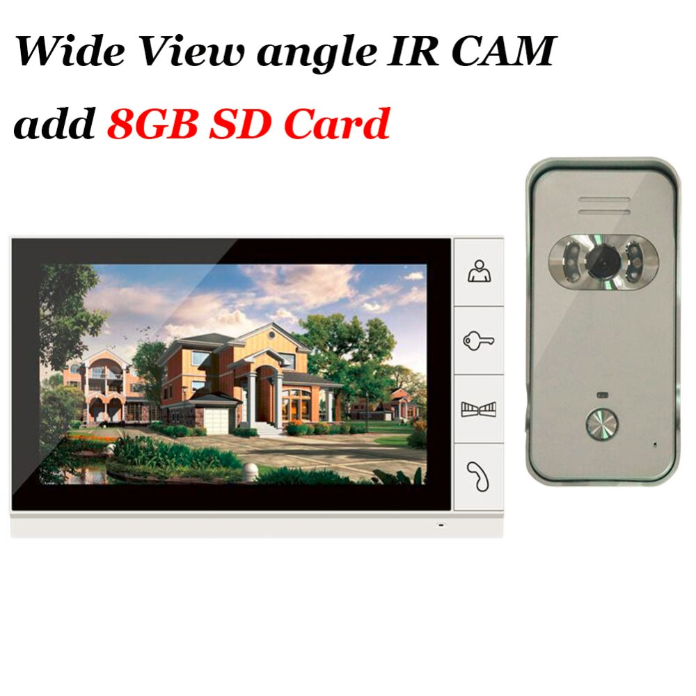 Home Security 9 inch TFT LCD Monitor intercom door phone system Outdoor wide angle Access Door HD Camera + 8GB SD Crad IN STOCK free shipping wired new 9 inch tft lcd monitor video door phone intercom system with 1 night vision outdoor camera in stock