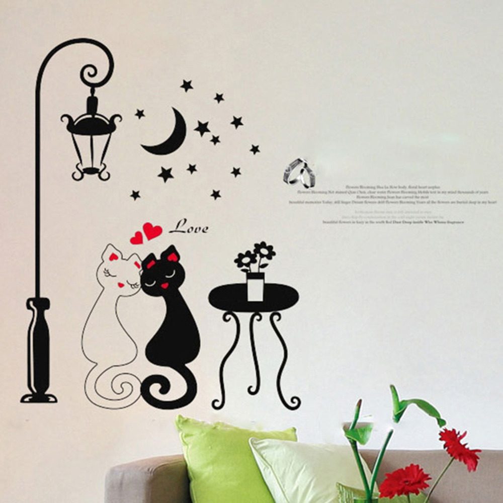 US $1 33 OFF New Arrival 1Pcs 33x60cm Lovely Cat Wall Sticker For Kids Room Lamp And Butterflies Stickers Decor Decals Removable Cartoon Sticker
