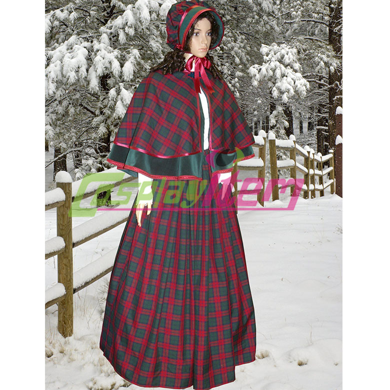 Customized Ladies Victorian Tartan  Velvet Winter -9301