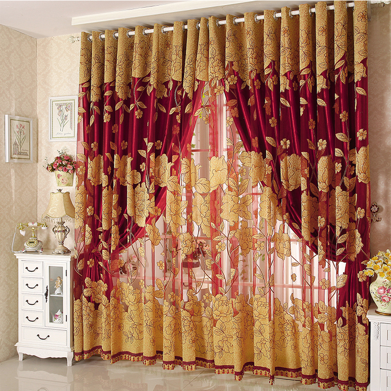 Aliexpress Buy Luxury Tulle for Windows Curtain Jacquard Embroidered Volie Sheer Blackout Curtains for Living Room the Bedroom Blinds Panel from