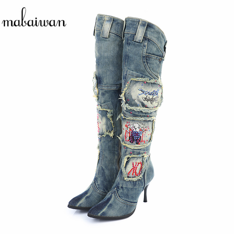 2017 Vintage Side Zipper Women Denim Boots Thin High Heel Pointed Toe Crystal Knee High Boots Winter Warm Jeans Long Botas Mujer hot selling 2015 women denim boots pointed toe tassel patchwork knee high boots crystal thin high heels winter motorcycle boots